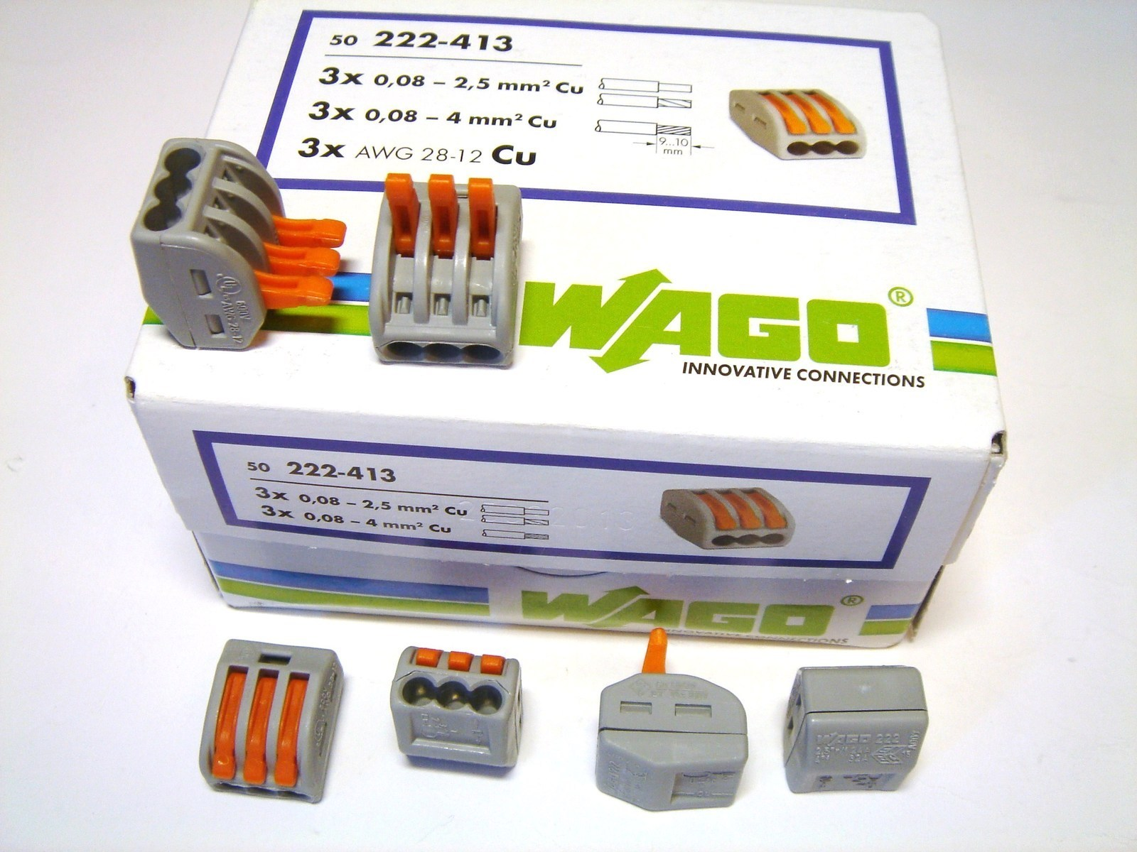 Klemmid Wago 3 x 0,08 - 4 mm² (avatavad), 222-413