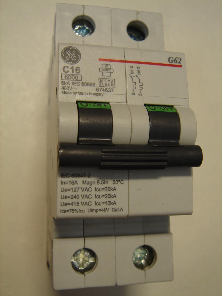 Ostan moodulkaitselüliteid 2-faasilisi, B 16A ja C 16A, General Electric