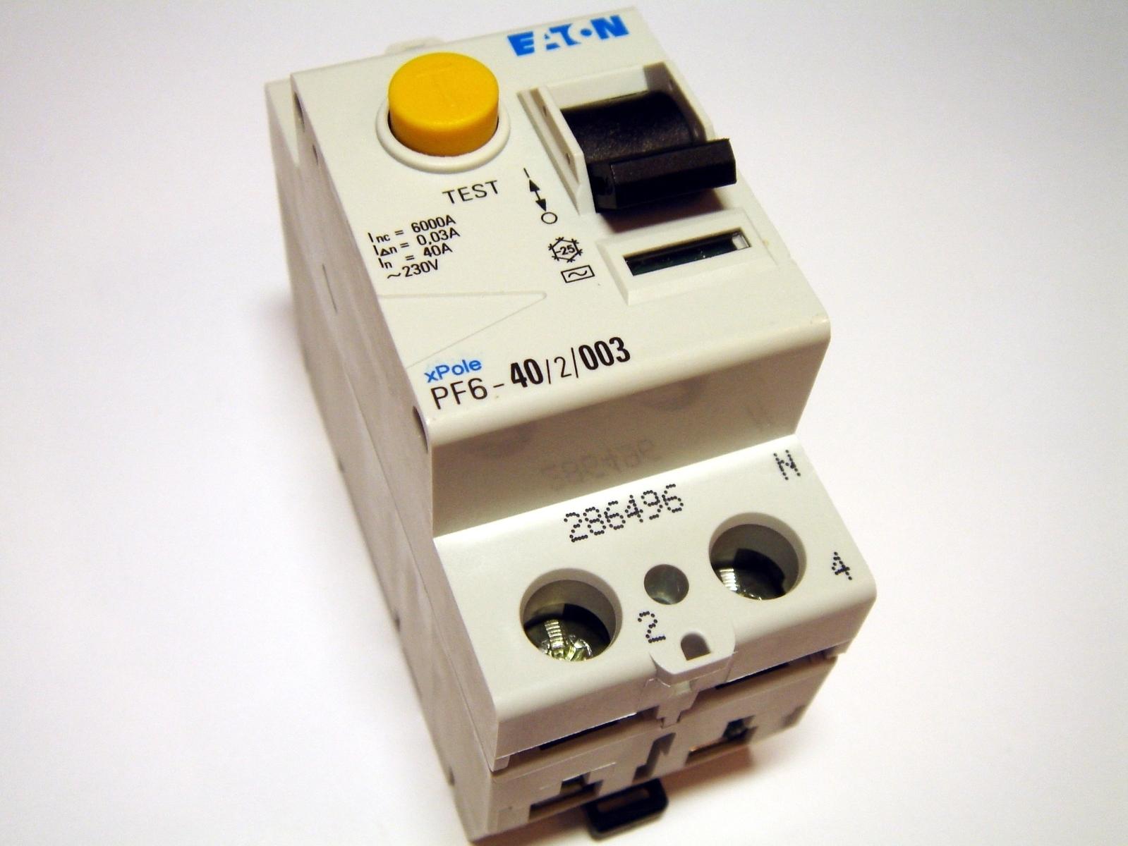 Aвтомат тока утечки 1-фазный 40 A, 30мA(0,03A), Eaton, PF6-40/2/003, 286496