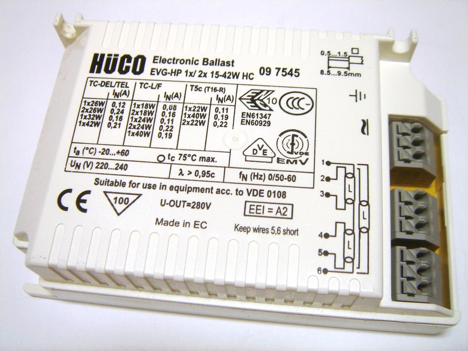 Elektrooniline drossel 1x18-42 W või 2x18-26 W, Hüco, EVG-HP 1x/ 2x 15-42W HC