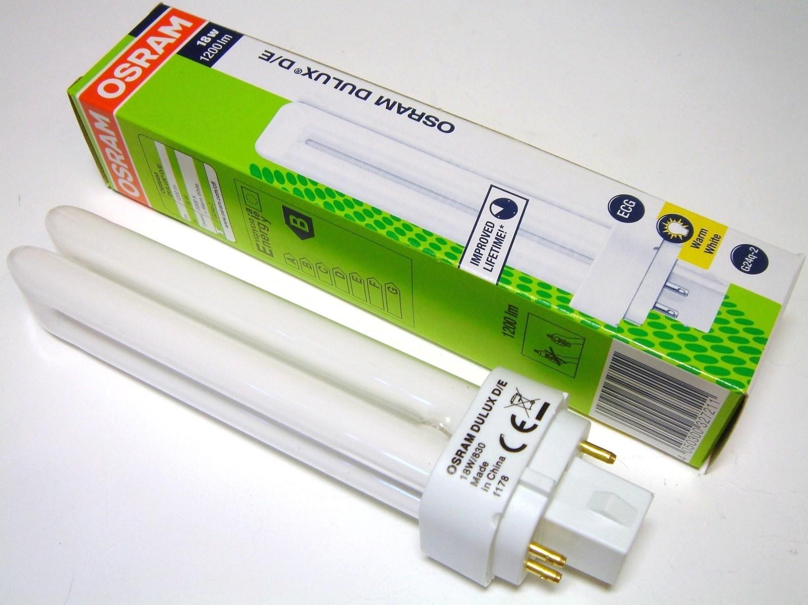 Kompakt-luminofoorlamp 18 W, Osram Dulux D/E, 18W/830/G24q-2,  4-PIN , 327211