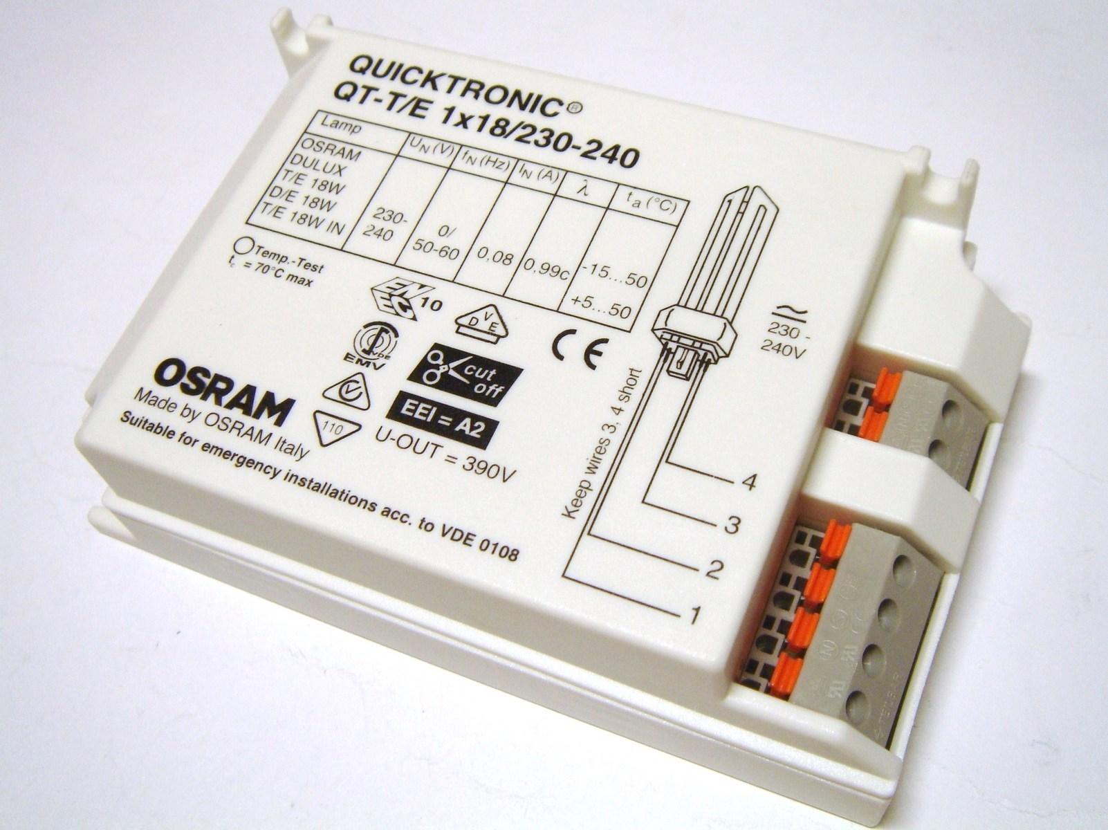 Elektrooniline drossel 1x18 W, Osram, Quicktronic QT-T/E 1x18/230-240