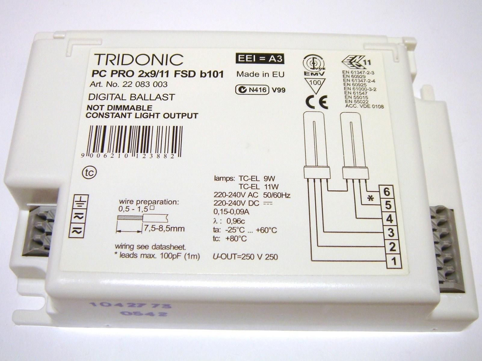 Elektrooniline drossel 2 x 9/11 W, Tridonic Atco, PC PRO2x9/11 FSD b101, 22083003