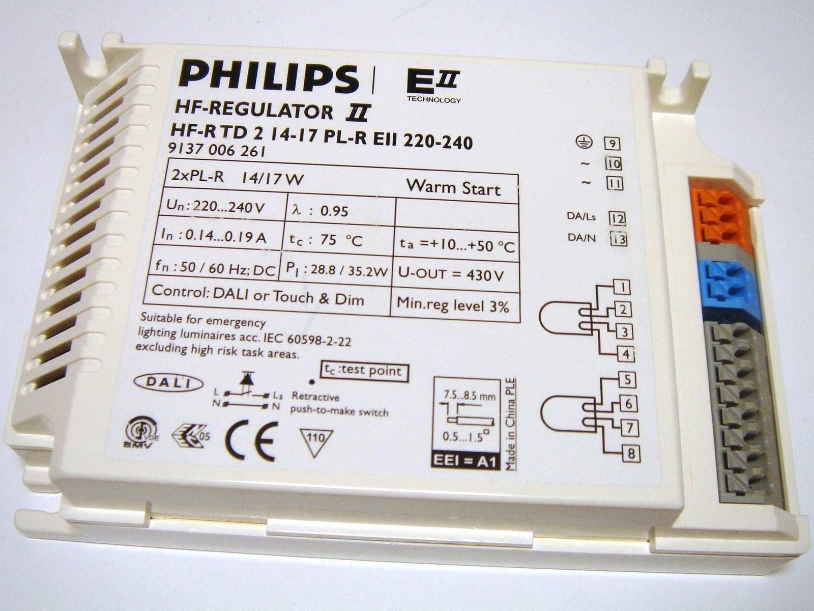 Elektrooniline drossel 2 x14/17 W, Philips, HF-Regulator, HF-R TD2 14-17 PL-R EII220-240V, 9137006261