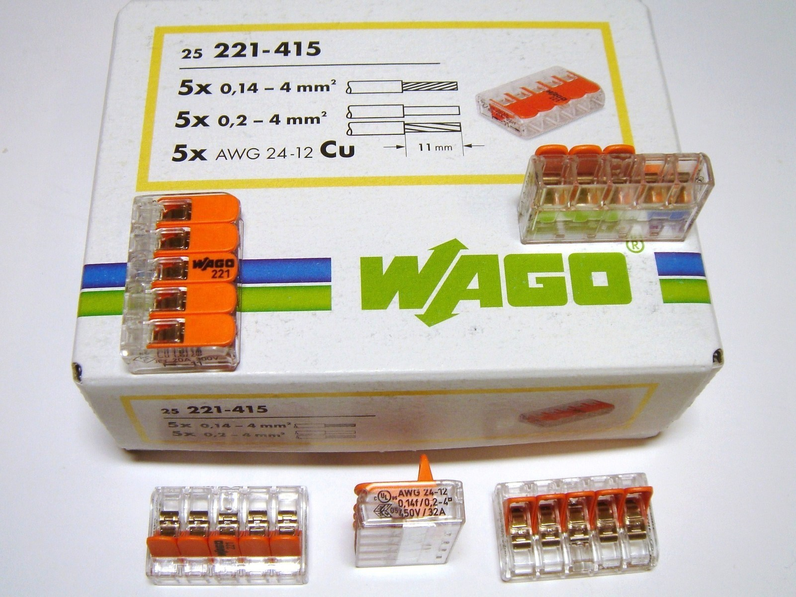 Klemmid Wago 5 x 0,14 - 4 mm² (avatavad), 221-415