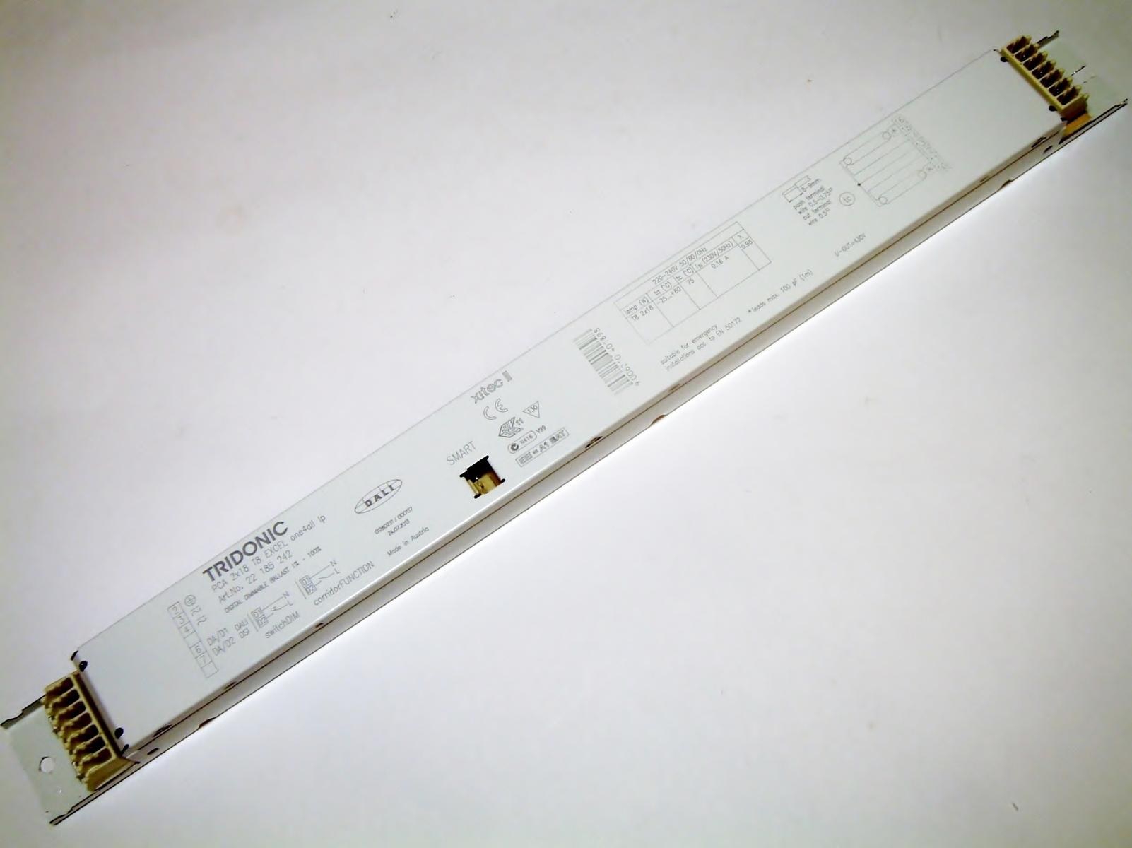 Elektrooniline drossel 2x18 W, Tridonic, PCA 2x18 T8 Excel one4all Ip, 22185242