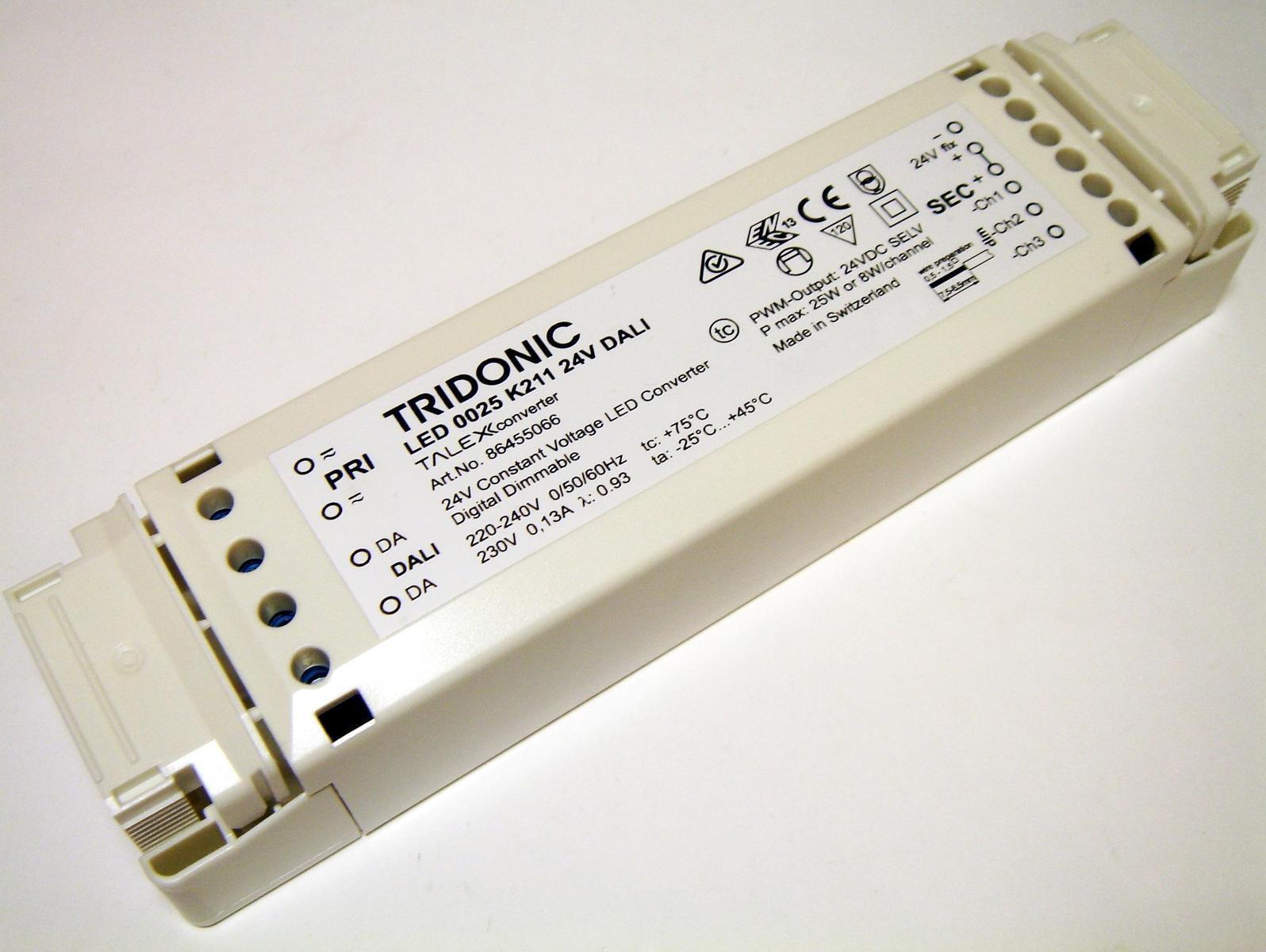 Электронный  LED  трансформатор 25Вт, 24В, Tridonic, LED 0025 K211 24V DALI, 86455066
