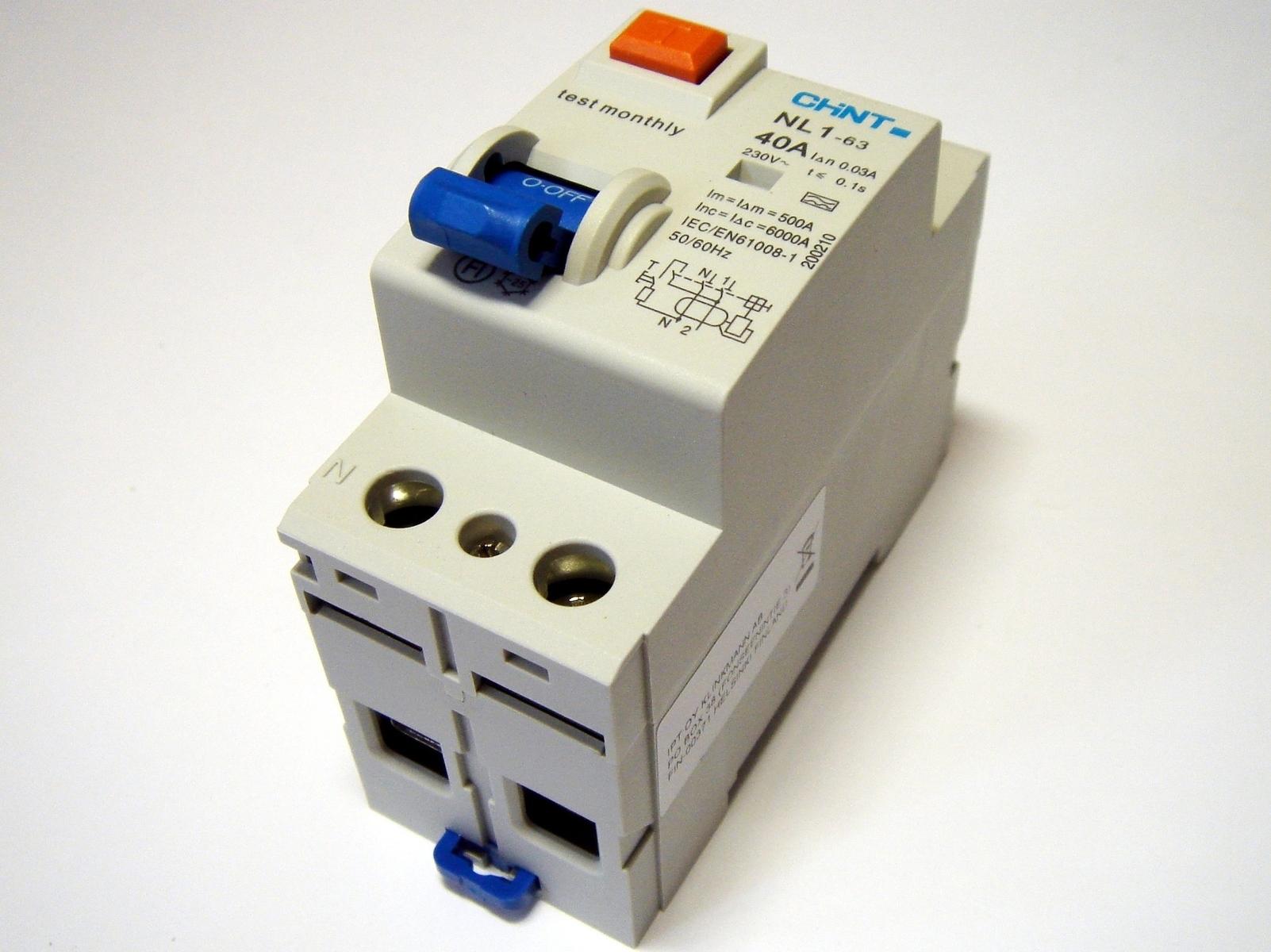 Aвтомат тока утечки 1-фазный 40 A, 30мA(0,03A), Chint, NL1-63, 93742
