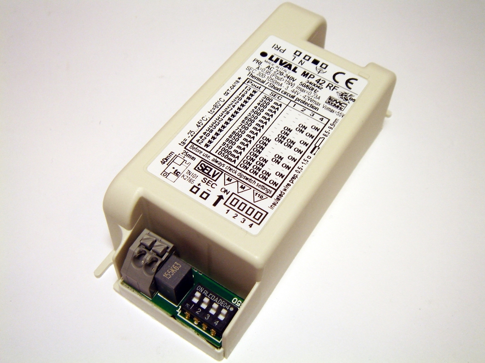Elektrooniline  LED  trafo 13-42W, 300-1050mA, 3-44V, Lival, MP42RF