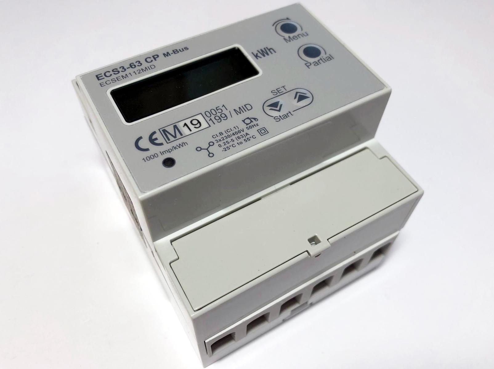Moodulelektriarvesti 3-faasiline 2-tariifne 0,25-5(63) A, ECS3-63 CP M-Bus, Herholdt Controls, ECSEM112MID