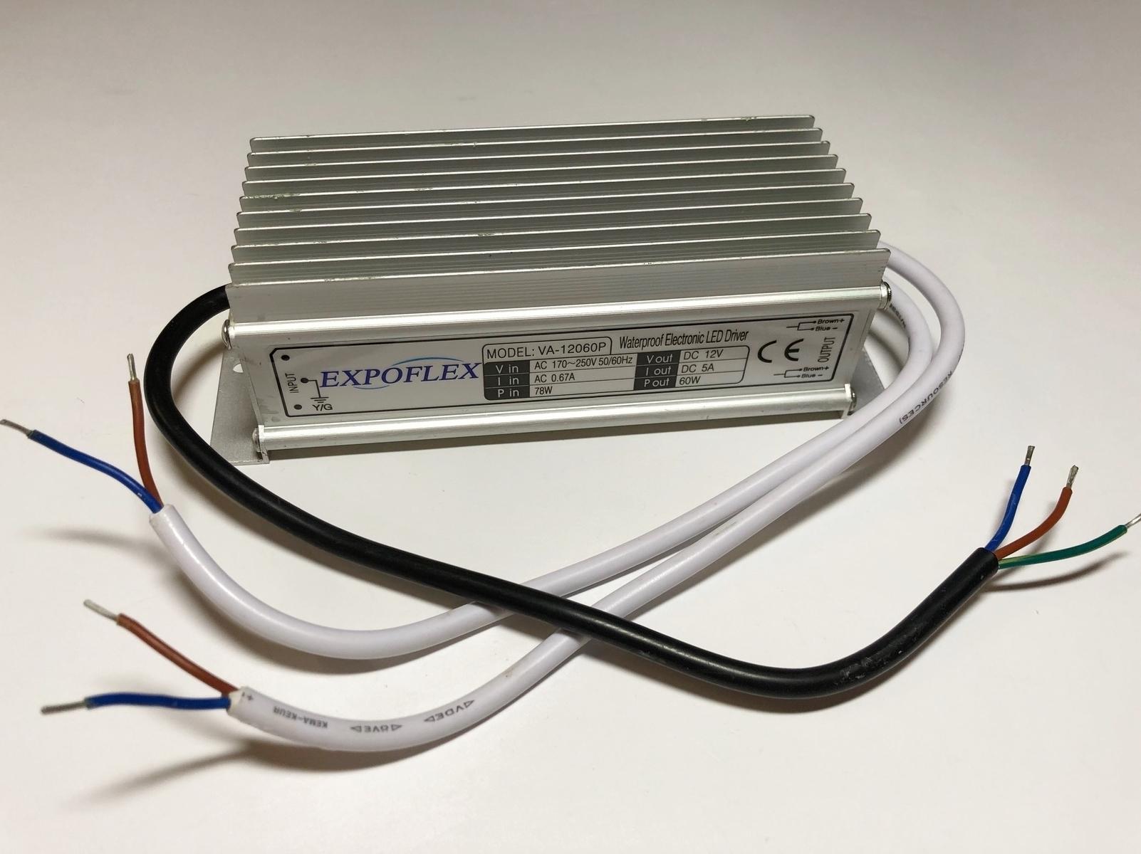Elektrooniline  LED  trafo 60 W, 12 V, Expoflex, VA-12060P