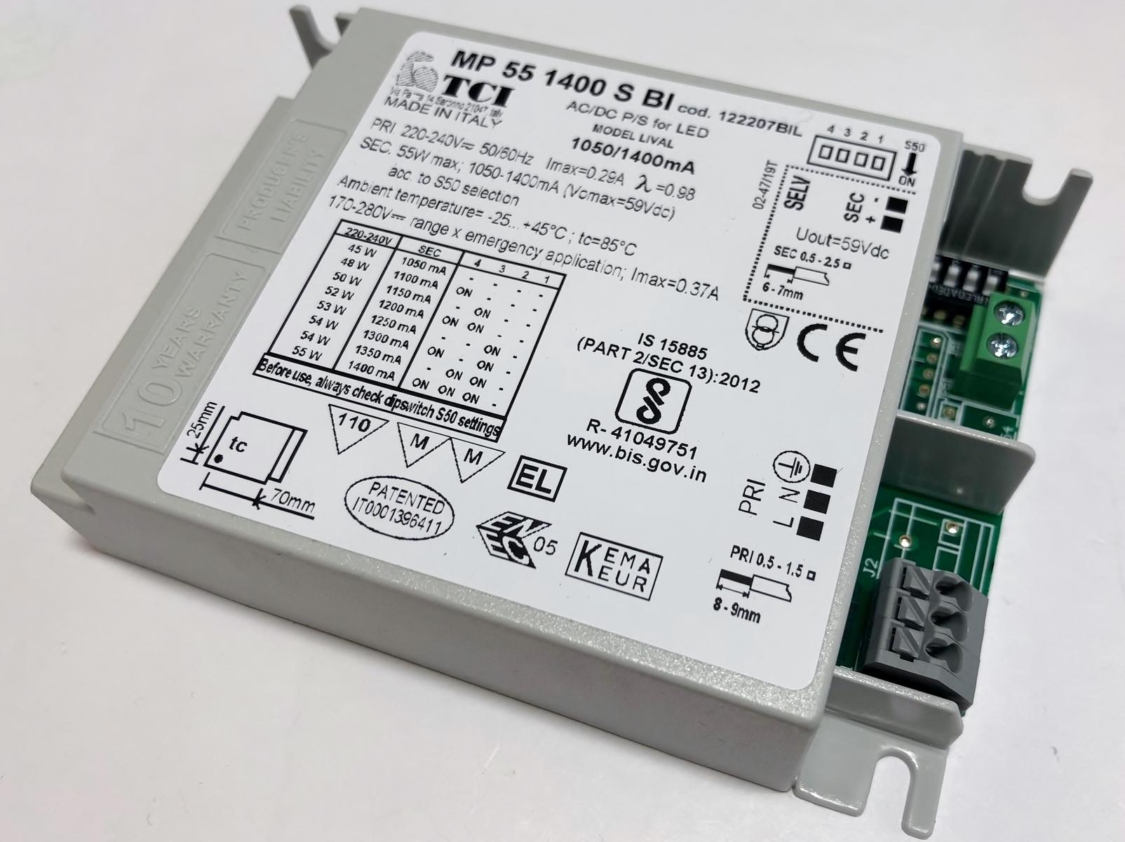 Elektrooniline  LED  trafo 45-55W, 1050-1400mA, max. 59V, Lival, MP 55 1400 S BI, 122207BIL