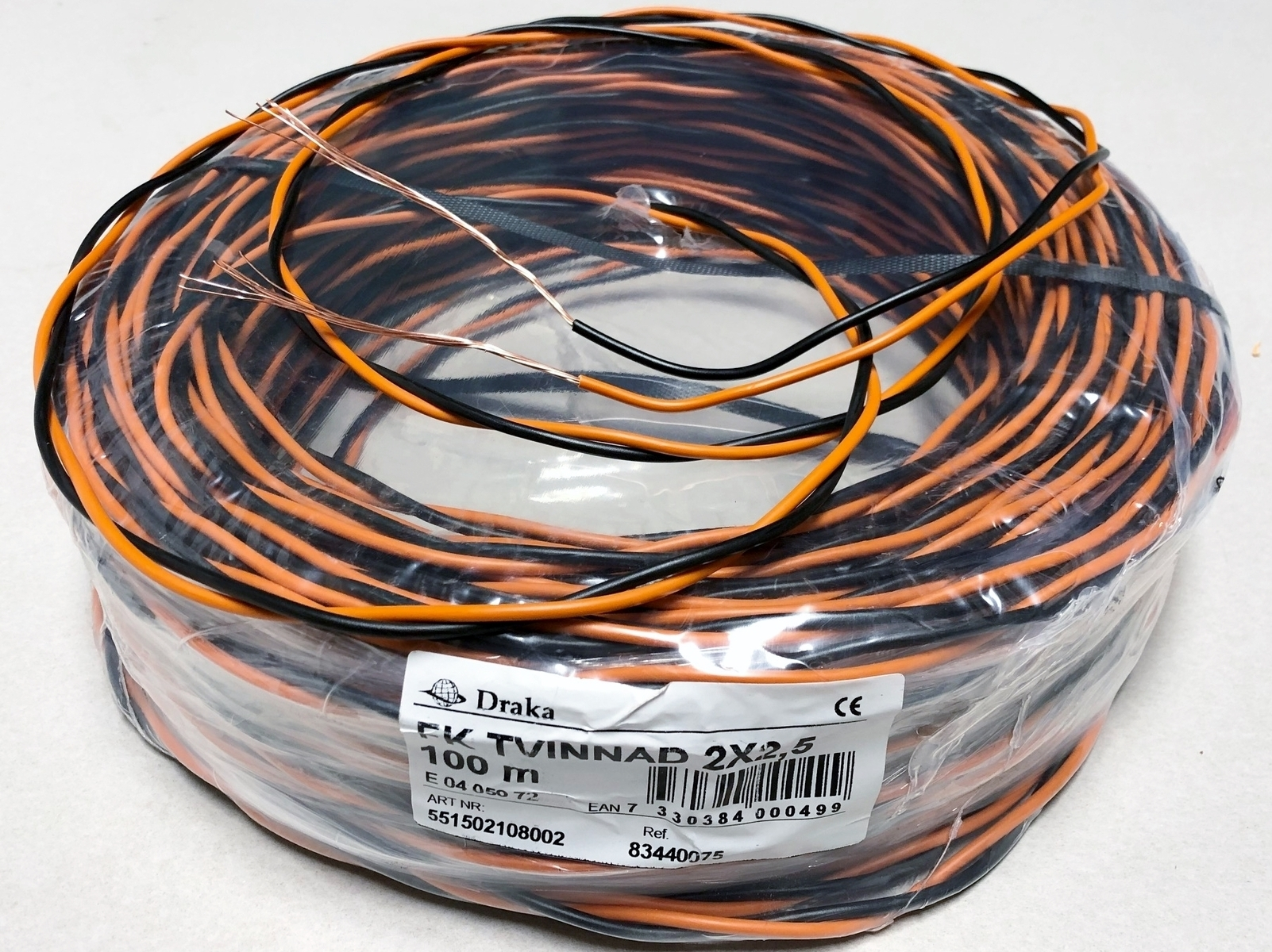 Vask juhe 2x2,5 mm², kiuline, FK Tvinnad, Draka, must/oranž