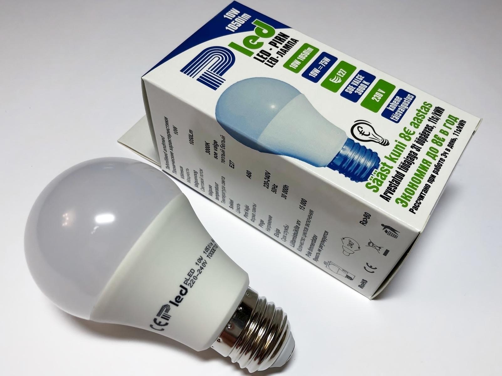 LED lamp 10 W, Pled, A60, Pluvo