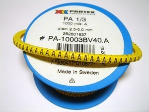 "<p> Juhtmemärgid PA1/3, ""<font color=""#ff0000""><strong>A</strong></font>"", Partex</p>"