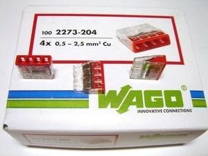 <p> Klemmid Wago 4 x 0,5-2,5 mm², 2273-204</p>