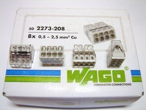 <p> Клеммы Wago 8 x 0,5-2,5 мм², 2273-208</p>