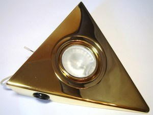 <p> Kolmnurkne halogeen mööblivalgusti 12V, Kanlux, Zepo LFD-T03/S-G, värv kuldne, 02962</p>
