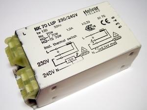 <p> Ballast 70 W, Helvar, NK 70 LUP 230/240V</p>
