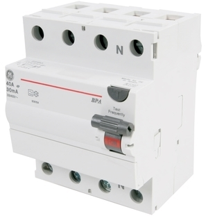 Aвтомат тока утечки 3-фазный 40 A, 30мА(0,03A), General Electric, BPA440/030, 606164