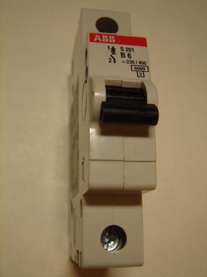 Ostan moodulkaitselüliteid 1-faasilisi, B 6A, ABB, S 201
