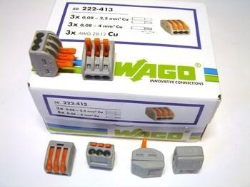 <p> Klemmid Wago 3 x 0,08 - 4 mm² (avatavad), 222-413</p>