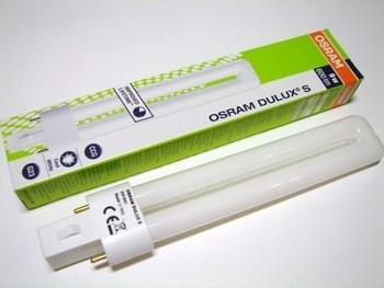 <p> Kompakt-luminofoorlamp 9 W, Osram Dulux® S, 9W/840/G23, 010588</p>