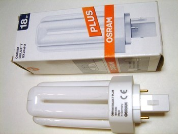 "<p> Kompakt-luminofoorlamp 18 W, Osram Dulux T Plus, 18W/830/GX24d-2, <span style=""color: #ff0000"">2-PIN</span>, 333489</p>"