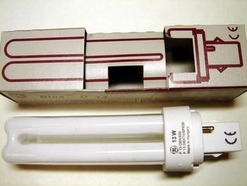 "<p> Kompakt-luminofoorlamp 13W, F13DBX/830, <span style=""color: #ff0000"">2-PIN</span>, General Electric, 12956</p>"