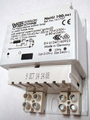 <p> Drossel 100 W, Vossloh Schwabe, NaHJ 100.941, 161707</p>