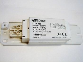 <p> Drossel 2x18 W või 1x36 W, L36.835, Vossloh Schwabe, 500479</p>
