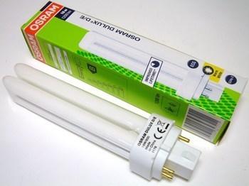 "<p> Kompakt-luminofoorlamp 18 W, Osram Dulux D/E, 18W/830/G24q-2, <span style=""color: #ff0000"">4-PIN</span>, 327211</p>"