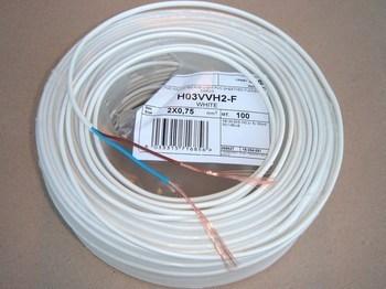 <p> Vaskkaabel 2 x 0,75 mm², H03VVH2-F, valge, lapik</p>