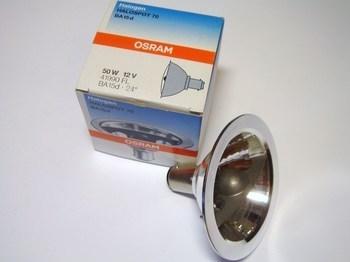 <p> Halogeenlamp alumiiniumist reflektoriga 50W, 12V, 24°, Osram Halospot 70, 41990 FL, 004020</p>
