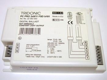 <p> Elektrooniline drossel 2 x 9/11 W, Tridonic Atco, PC PRO&nbsp;2x9/11 FSD b101, 22083003</p>
