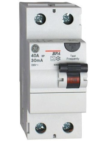 <p> Rikkevoolukaitse 1-faasiline, 40 A, 30mA(0,03A), BPA240/030, General Electric, 606087</p>