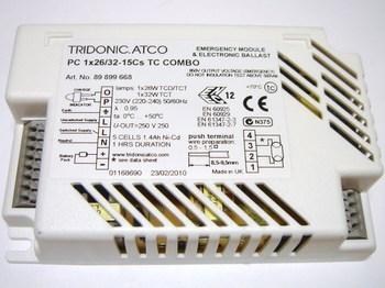 "<p> Elektrooniline drossel <span style=""color: #ff0000"">koos avariitoiteallikaga</span> 1 x 26/32 W, Tridonic Atco, PC 1x26/32-15Cs TC Combo, 89899668</p>"