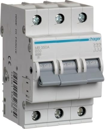 <p> Moodulkaitselüliti 3-faasiline, B 50A, Hager, MB350A, 432738</p>