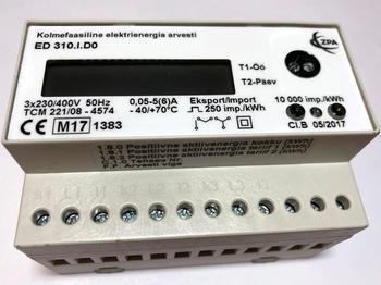 <p> Moodulelektriarvesti 3-faasiline 2-tariifne 0,05-5(6) A, ED 310.I.D0, ZPA Smart Energy</p>