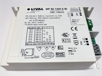 """<p> Elektrooniline <span style=""""color: #ff0000"""">LED</span> trafo 45-55W, 1050-1400mA, max. 59V, Lival, MP 55 1400 S BI, 122207BIL</p>"""