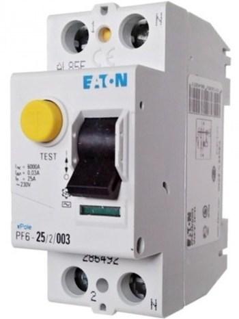 <p> Aвтомат тока утечки 1-фазный 25 A, 30мA(0,03A), Eaton, PF6-25/2/003, 286492</p>